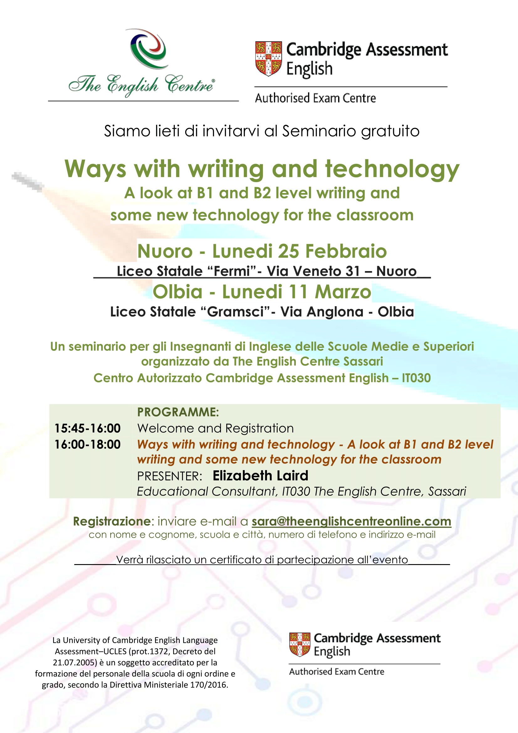 "Seminar for teachers ""Ways with writing and technology"""
