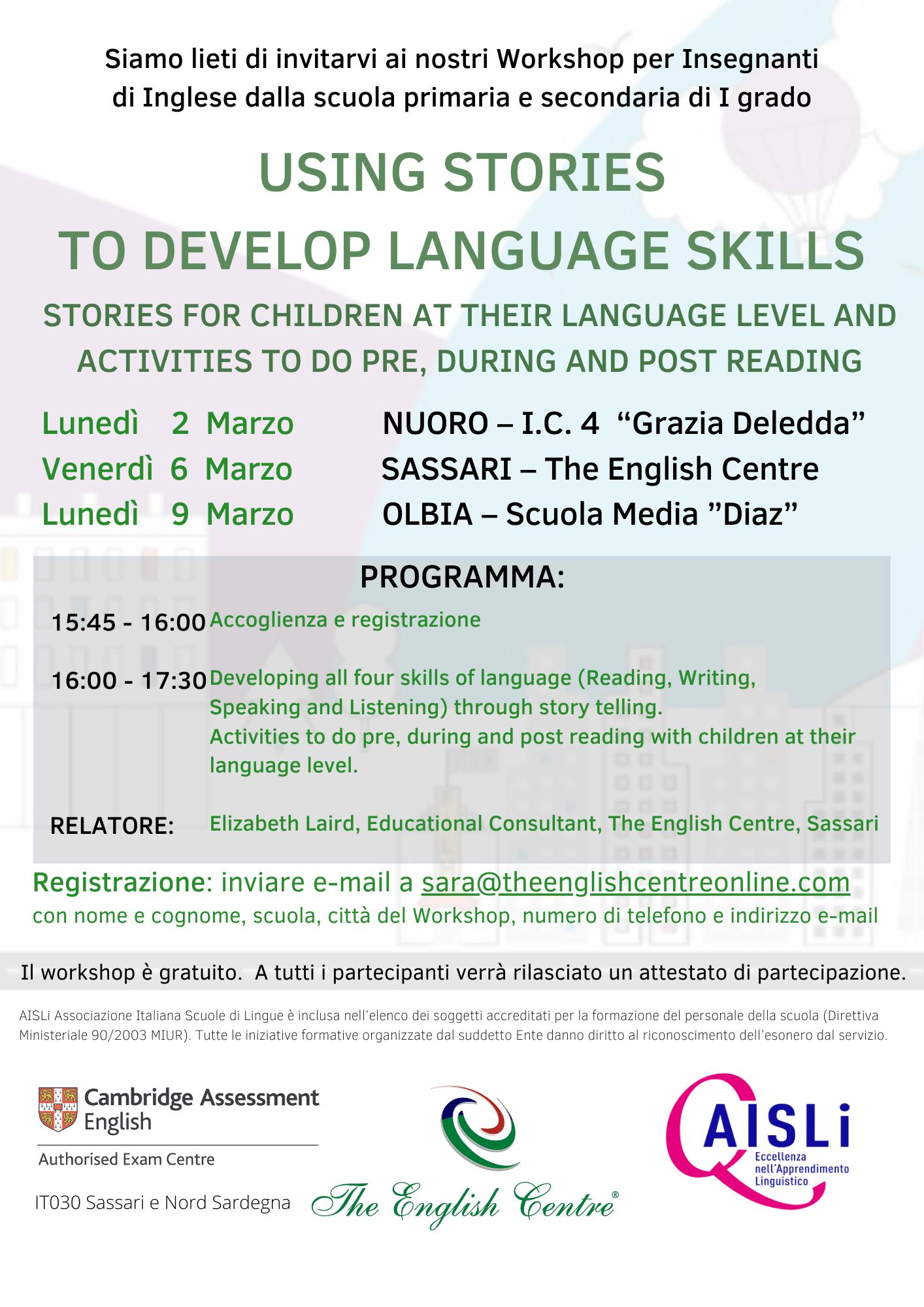 Workshop per insegnanti di inglese di scuola primaria e secondaria di primo grado